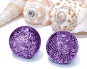 "Small Dichroic Stud Earrings, Fused Glass Jewelry, Posts, Round, Spring Summer, Purple, Lavender, 7/16"" 11mm (Item 30372-E)"