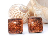 """Small Dichroic Stud Earrings, Fused Glass Jewelry, Posts, Square, Rustic, Woodland, Burnt Orange, Firelight, 7/16"""" 11mm (Item 30362-E)"""
