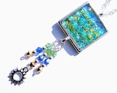 Dichroic Pendant, Swarovski, Boho, Fused Glass Jewelry, Square, Sun Burst Charm, Sterling Silver Beads, Blue, Green, Gold (Item 10443-P)