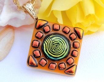 Dichroic Pendant, Fused Glass Jewelry, Summer, Orange, Gold, Fun, Party, Swirl, Mosaic Art (Item 10312-P)