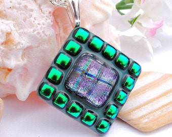 Mosaic Art, Dichroic Glass Pendant, Fused Glass Jewelry, Tribal, Purple, Emerald (Item 10115-P)