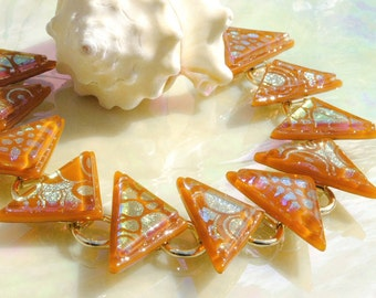 Geometric Glass Bracelet, Fused Glass Bracelet, Fused Glass Jewelry, Dichroic Bracelet, Triangle, Burnt Orange Honey (Item 20054-LB)