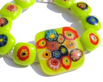 Fun and Stylish Chunky Fused Glass Bracelet, Fused Glass Jewelry, Millefiori, Spring Green (Item 20075-B)