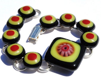 Millefiori Bracelet, Dichroic Fused Glass Jewelry, Dichroic Bracelet, Orange, Black, Red, Floral (Item 20002-LB)