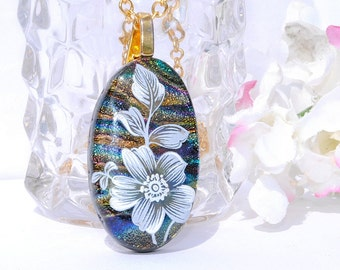 Flower Pendant, Floral, Fused Glass Jewelry, Silk Screened Image, Dichroic Pendant, Garden, Spring, Nature (Item 10316-P)