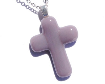 Cross Pendant, Fused Glass Jewelry, Glass Pendant, Jesus Christ, Faith, Hope, Love, Spiritual, Youth, Light Plum, Pastel (Item 10422-P)