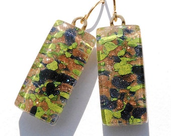 Fused Glass Earrings, Glass Frit, Fused Glass Jewelry, Rectangle, 18K Gold Plated, Woodland, Marbled Green Gold Blue, Glitter (Item 30330-E)