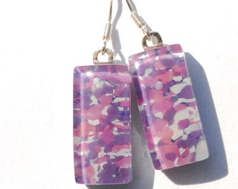 Roses and Lilac, Fused Glass Earrings, Glass Frit, Fused Glass Jewelry, Sterling Silver, Garden, Spring, Rose Purple (Item 30336-E)
