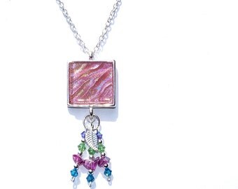 Dichroic Pendant, Swarovski, Boho, Fused Glass Jewelry, Square, Sterling Silver Beads, Dusty Rose, Glass Chips, Leaf (Item 10442-P)