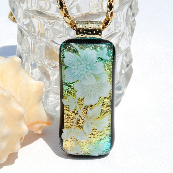 Vintage Inspired Fused Dichroic Glass Pendant Fused Glass Jewelry Floral Garden Gold White Teal, Spring (Item 10318-P)