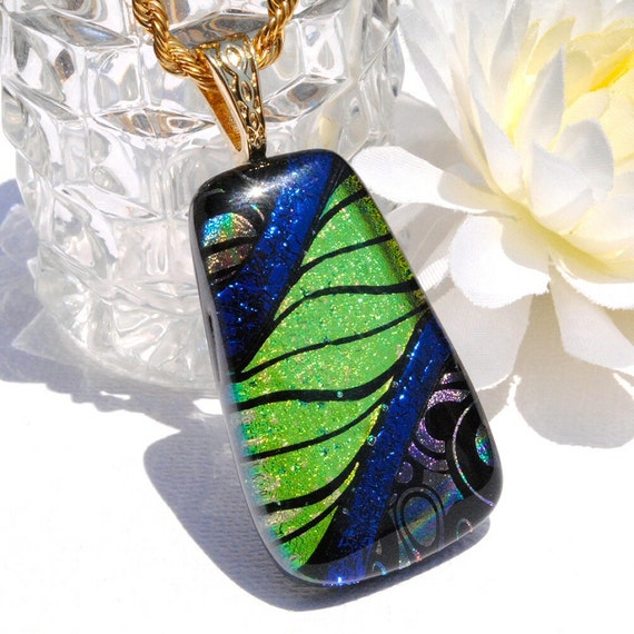 Green Ribbons & Crazy Circles - Fused Dichroic Glass Pendant (Item 10317-P)