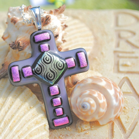 Dichroic Fused Glass Jewelry, Cross Pendant, Fused Dichroic Glass, Purple Pink Large Faith, Spring (Item 10034-P)