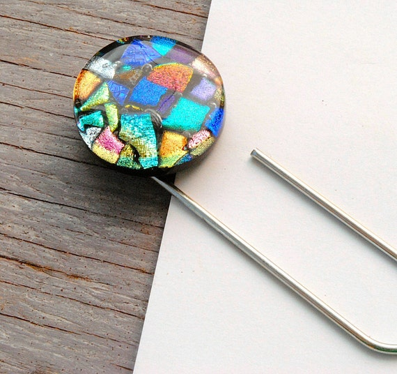 Magnet Paper Holder, Refrigerator Magnet, Dichroic Fused Glass, Large Paper Clip, To Do List Holder, Abstract, Colorful Gift (Item 50046-A)
