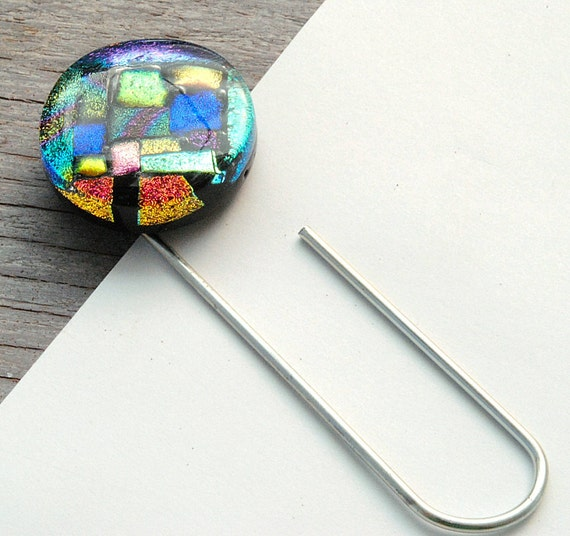 Magnet Paper Holder, Refrigerator Magnet, Dichroic Fused Glass, Large Paper Clip, To Do List Holder, Abstract, Colorful Gift (Item 50038-A)