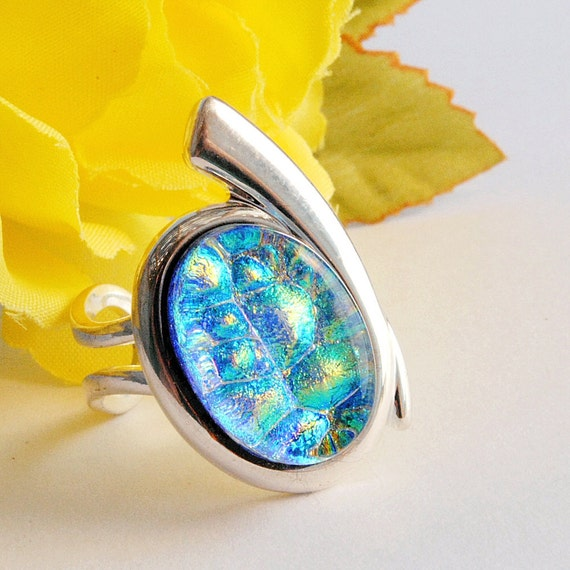 Dichroic Ring, Silver Plated, Fused Glass Jewelry, Stylish, Trendy, Fashionable, Large, Blue, Green, Gold (Item 60001-R)
