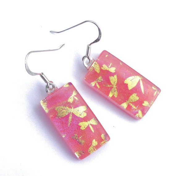 Dragonfly, Dichroic Earrings, Fused Glass Jewelry, Pink and Gold, Nature, Outdoors, Insect, Pastel, Sterling Silver Hooks (Item 30249-E)