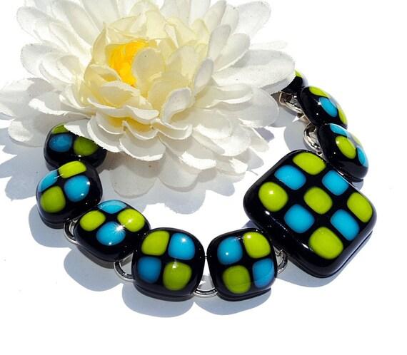 Chunky Fused Glass Bracelet, Fused Glass Jewelry, Kitschy, Retro, Modern, Geometric, Black, Blue, Yellow (Item 20018-B)