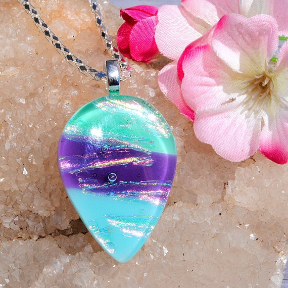 Sweet Sensations, Fused Glass Jewelry, Dichroic Pendant, Spring, Pastels, Easter (Item 10242-P)