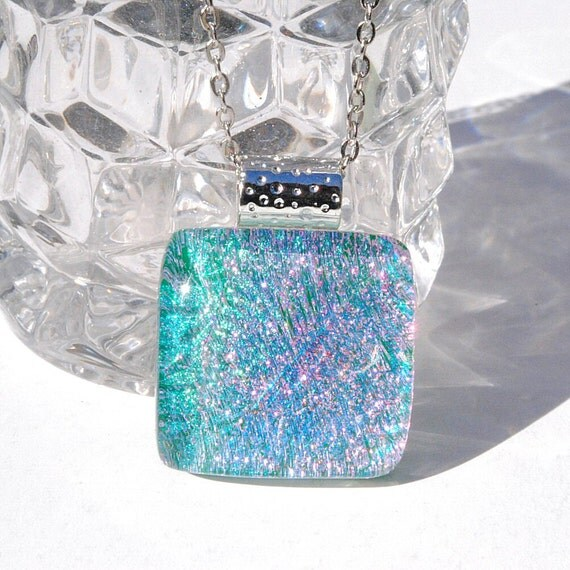 Mini Fused Dichroic Glass Pendant, Fused Glass Jewelry, Small Glass Pendant, Pastels Green Pink Blue Sparkles (Item 10397-P)