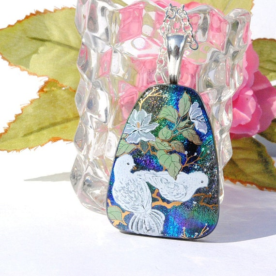 Doves, Dichroic Jewelry, Dichroic Glass Pendant, Peace, Fused Glass Jewelry, Floral Image, Nature, Blue, Bird (Item 10250-P)