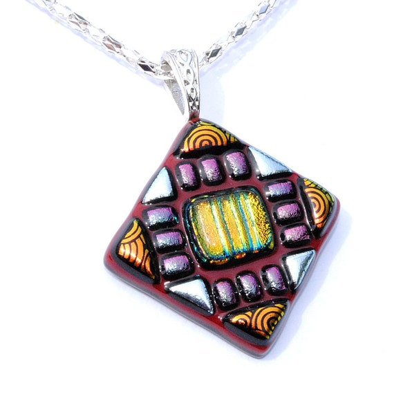 Mosaic, Dichroic Glass Pendant, Fused Glass Jewelry, Tribal, Aztec, Deep Red, Orange, Silver (Item 10236-P)