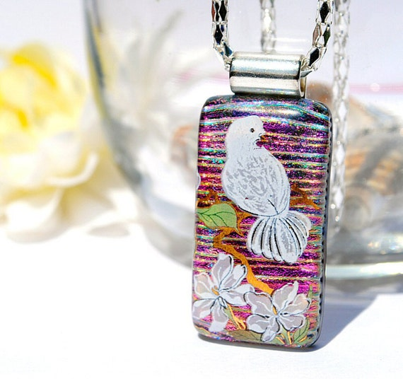 Peace, Dichroic Glass Pendant, Fused Glass Jewelry, Dove, Bird, Peaceful, Serene, Spring, Outdoors, Nature (Item 10321-P)