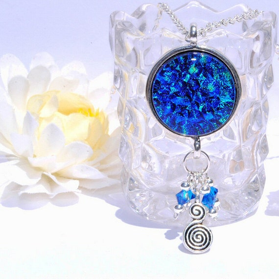 Dichroic Pendant, Swarovski & Sterling Silver Beads, Pewter Swirl Charm, Fused Glass Jewelry Necklace, Cobalt Blue, Boho (Item 10429-P)