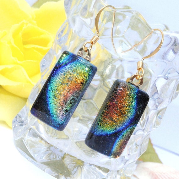 Rainbow in the Dark, Dichroic Earrings, Fused Glass Jewelry, Rectangle, Colors on Black, Tie-Dye Fusion, Black Light (Item 30303-E)