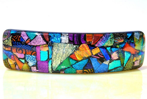 Large French Barrette, Abstract, Dichroic Glass Barrette, Fused Glass Hair Accessory, Colorful Rainbow, Mosaic Art (Item 50060-A)