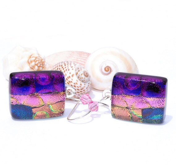 Dichroic Glass Earrings, Fused Glass Jewelry, Rectangle, Sterling Silver Hooks, Swarovski, Blue, Purple, Gold, Salmon, Pink (Item 30314-E)