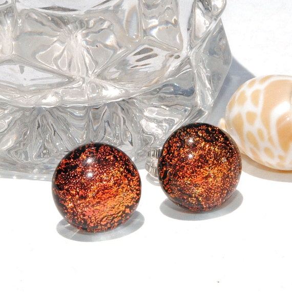 """Small Dichroic Studs, Fused Glass Jewelry, Dichroic Glass, Posts, Round, Burnt Orange, Rustic 3/8"""" 9mm (Item 30392-E)"""