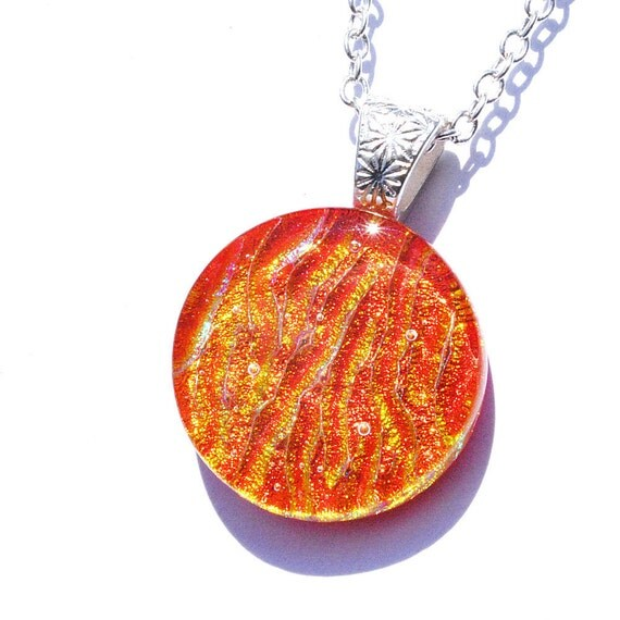 """Dichroic Pendant, Round, Fused Glass Jewelry, Circle, Colorful, Neon, Flames, Hot, Summer, Tangerine Orange Gold, 1"""", 25mm (Item 10449-P)"""