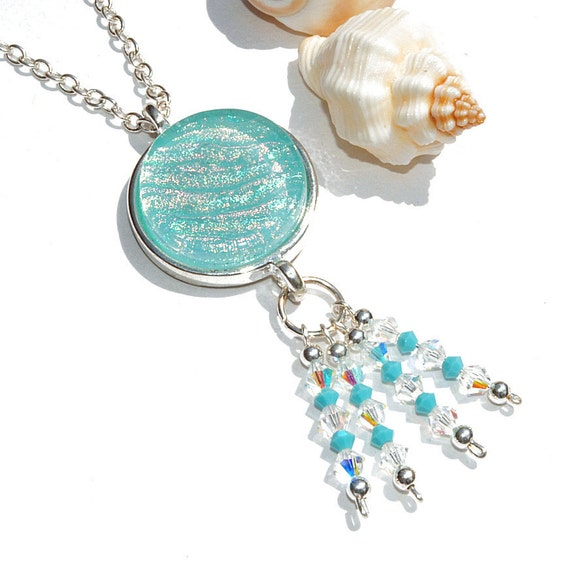 Dichroic Pendant, Swarovski, Gypsy, Beach, Fused Glass Jewelry, Round, Sterling Silver Beads, Pastels, Blue, Turquoise (Item 10453-P)