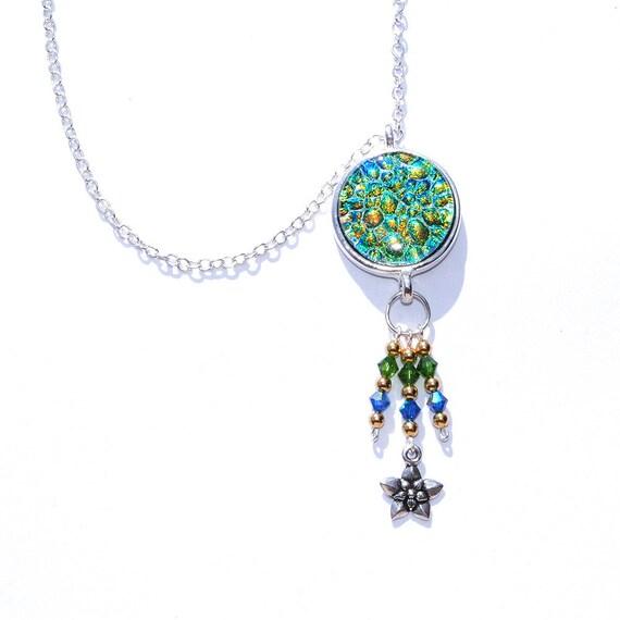 Dichroic Pendant, Swarovski, Gypsy, Bohemian, Fused Glass Jewelry Necklace, Round, Boho, Emerald Green, Gold, Cobalt Blue (Item 10452-P)