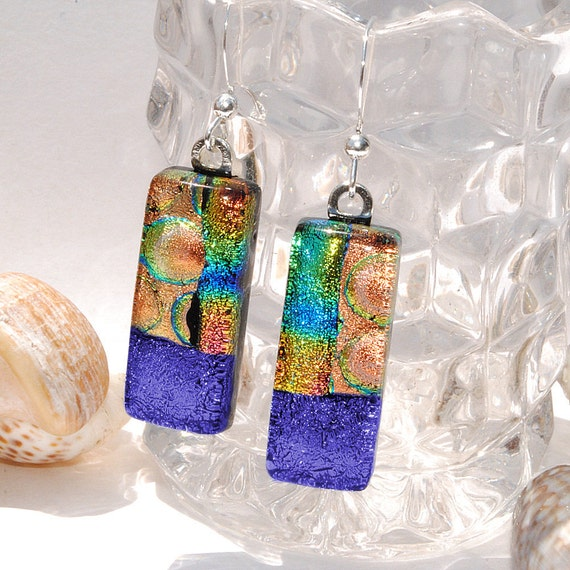 Dichroic Earrings, Fused Glass Jewelry, Rectangle, High Fashion, Colorful, Bright, Bold, Abstract, Mosaic (Item 30396-E)