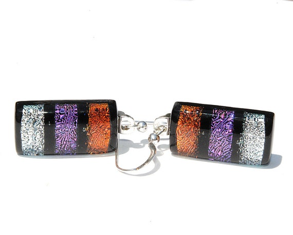 Dichroic Earrings, Fused Glass Jewelry, Rectangle, High Fashion, Colorful, Bright, Stripes, Rust Purple Silver (Item 30389-E)