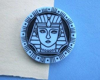 BWB Amazing Vintage Egyptian Revival Female Pharoah Glass Cab Hatshepsut Cleopatra Nefertiti (1)  30mm