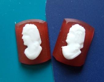 BWB Pair of Teenie Vintage Cameos Milk Glass Lady's Head on Carnelian Glass Stone (1 pcs)  14x10mm