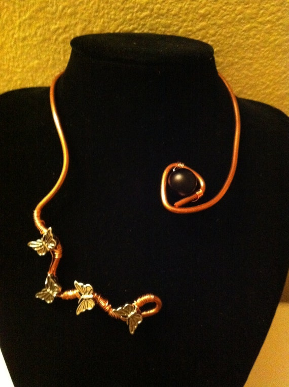 Zig zag copper necklace with butterfly's