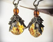 Earrings, Tortoiseshell Yellow Czech Glass and Antiqued Brass, Woodsy Amber Drops