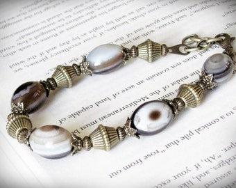 Bracelet, Victorian Inspired, in Brown Gray and Cream Agate Stone and Antiqued Brass