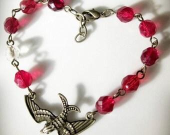 Romantic Red Bracelet, Bird, Czech Glass Beads and Antiqued Brass Bronze... Aflutter