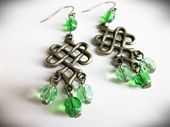 Green Chandelier Earrings, Celtic Knot, in Antiqued Brass and Emerald Czech Glass