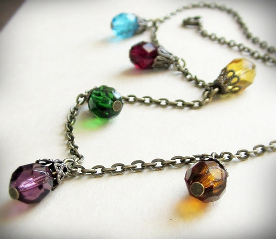 Christmas Lights Necklace, Multicolored Czech Glass and Antiqued Brass