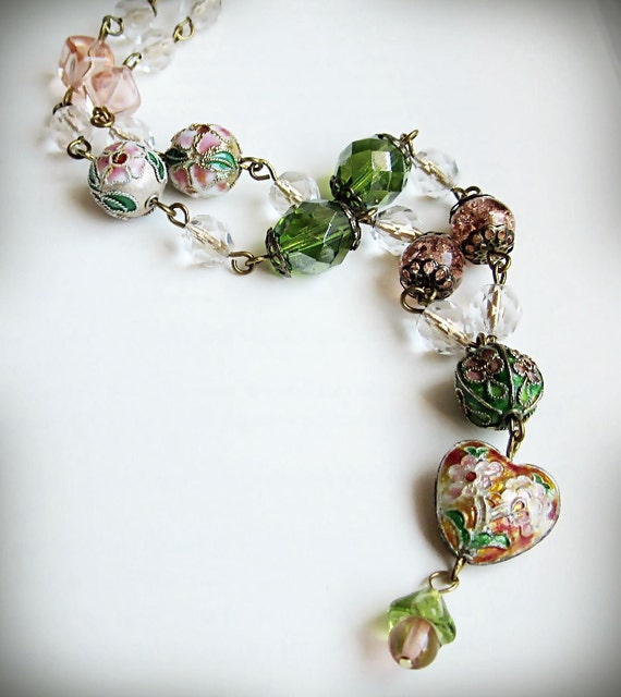 Necklace, Cloisonne and Czech Glass, Floral, Heart, Green and Peach Pink