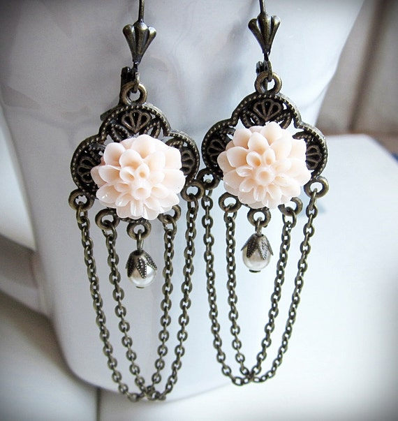 Chandelier Earrings, Romantic, Pink Mum Flowers, Antiqued Brass, Pearls. Dramatic, Long, and Vintage Inspired