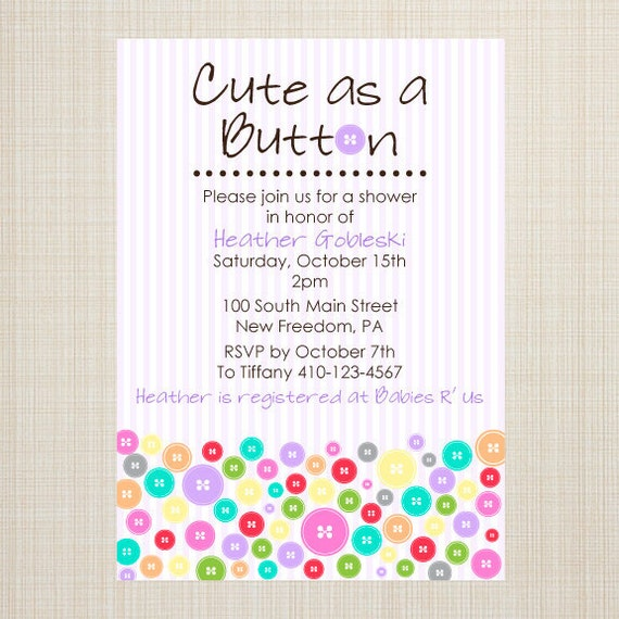 Beautiful Cute As A Button Baby Shower Invitation