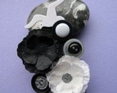 Monochrome up cycled button brooch