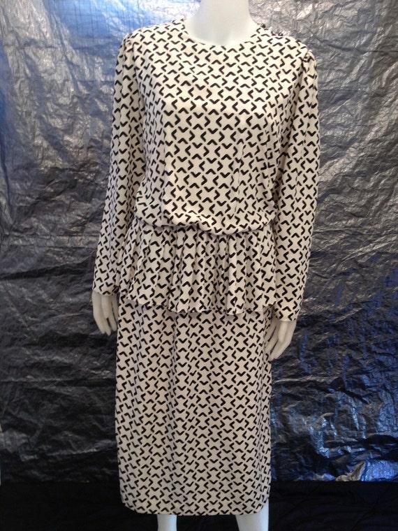 Reserved for Sam Vintage Cream & Black Modern Print 80's Secretary Dress  L