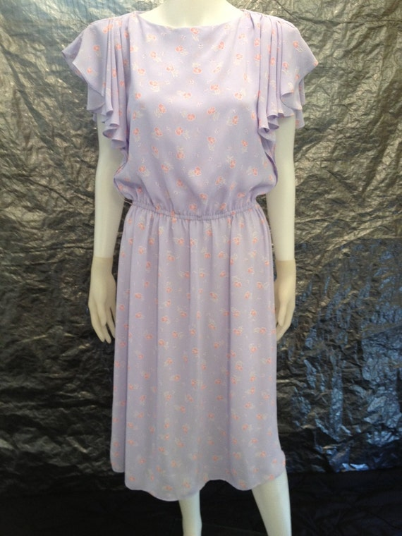 Reserved for Sam SALE Vintage Lilac Floral Summer 70's Dress  M